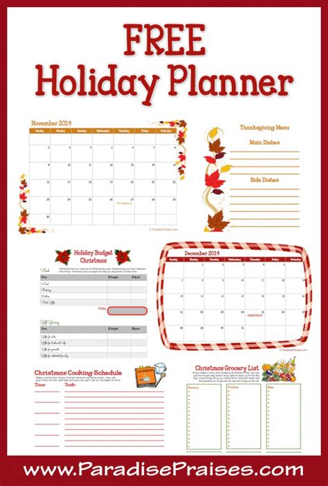 printable holiday meal planner free 16 page holiday planner free homeschool deals