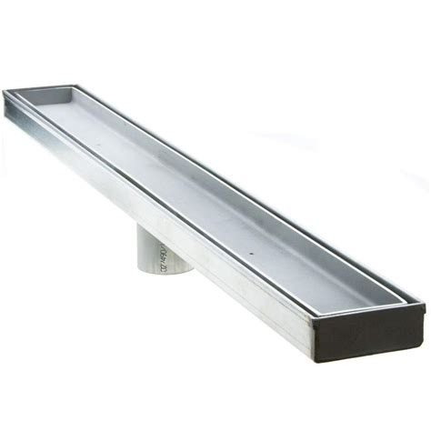 luxe 26 in stainless steel linear shower drain tile