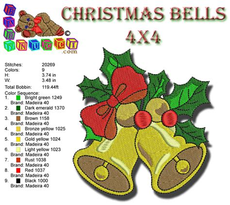 christmas bell i babynucci embroidery designs