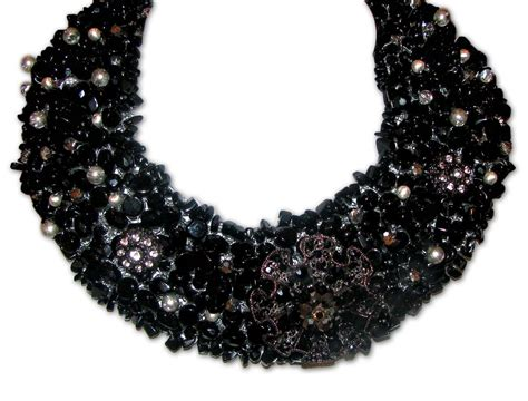 black bead black beaded statement necklace images