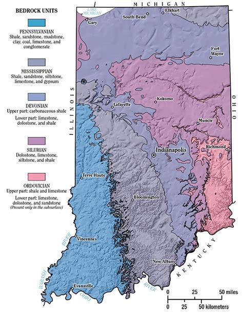 kentucky bedrock map geology of indiana