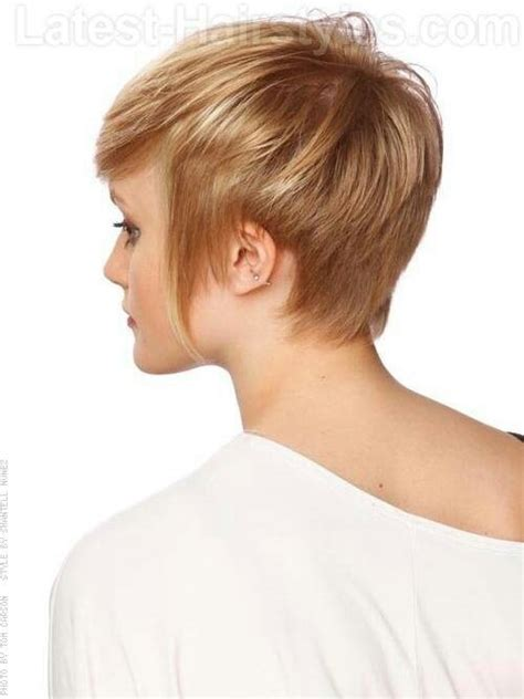 pictures of short haircuts from back side short hair strawberry blonde pixie with longer sides