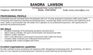 The housekeeper cv sample below is intended to show housekeepers how