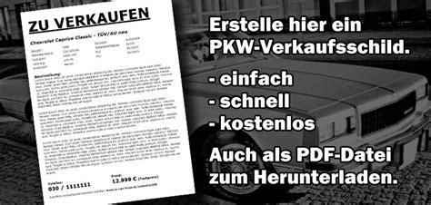 Verkaufsanzeige Auto Vorlage by Kostenloses Auto Pkw Verkaufsschild Zum Ausdrucken