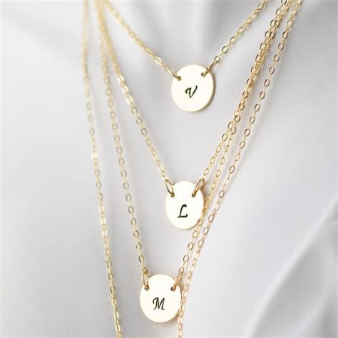personalized layered necklace gold initial necklace