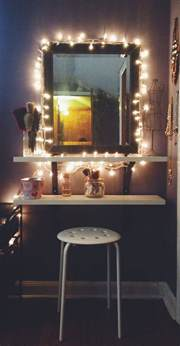 Vanity Mirror With Lights For Bedroom Diy Ikea Hack Vanity Put Shelves On Wall Beside Mirror