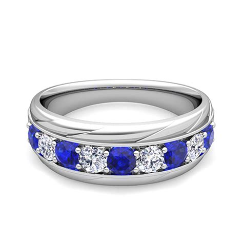 love diamond  sapphire mens wedding band ring
