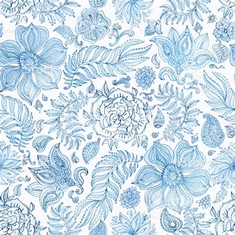 batik design wrapping paper abstract seamless floral pattern of indigo blue hand