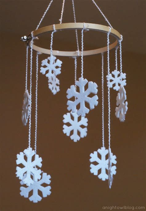 Arts And Crafts Christmas Decorations - diy snowflake mobile a night owl blog