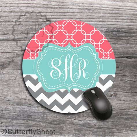 Chevron Desk Accessories Coral And Gray Chevron Personalized Mouse Pad Design Office Desk Accessory Gift