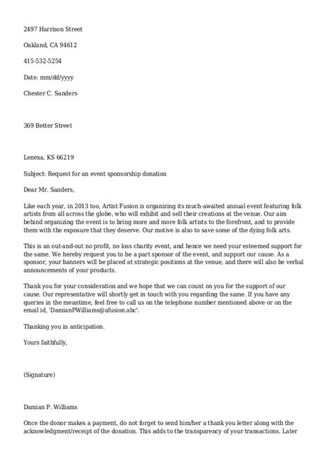 Business Letter Format Asking For Donations letter template asking for donations business letter