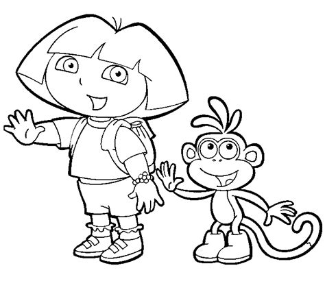 coloring pages dora boots dora the explorer coloring pages