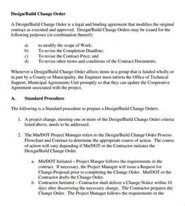 contractor change order form template sle change order 11 documents in pdf word