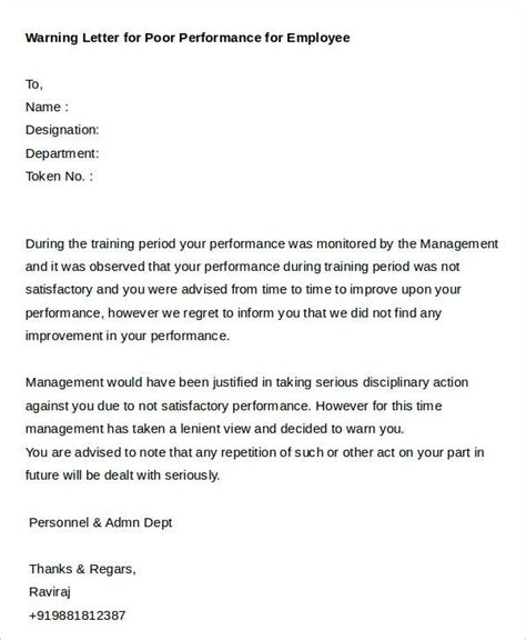 Reprimand Letter For Poor Performance