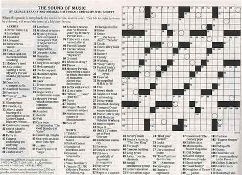sunday times careers section the sound of music crossword puzzle by george barany and