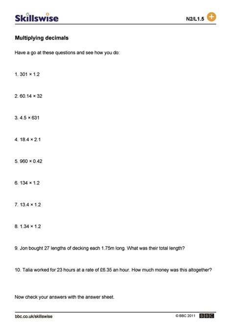 multiplying decimals word problems worksheets fraction