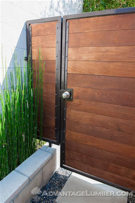 Wall Sconces For Plants Ipe Gate With Metal Frame Modern Entry Los Angeles