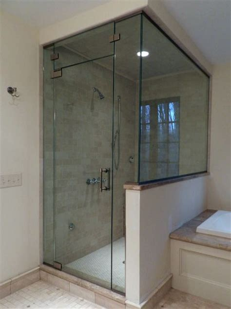 Half Glass Shower Doors 39 Best Images About Bathroom On Contemporary Bathrooms Vanities And Tub Enclosures
