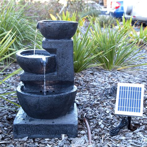 Solar Powered Water Features With Led Lights Solar Panel Powered 3 Tiers Water Feature Led