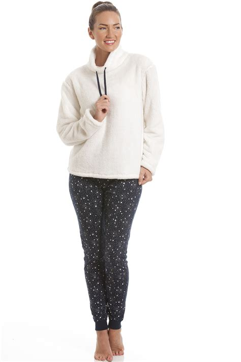 navy patterned tights uk womens cream fleece pyjama top with navy star print leggings
