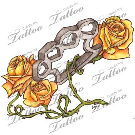 brass knuckle tattoo designs brass knuckles and roses design tattoos
