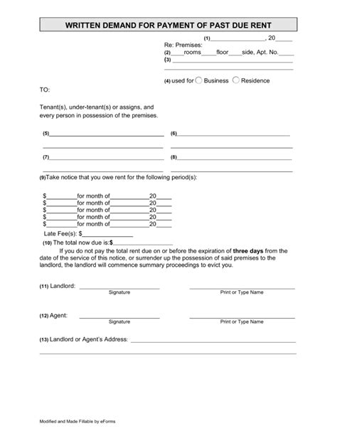 Rent Demand Letter New York Eviction Forms Free Word Certificate Templates