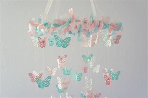 Handmade Baby Mobiles Australia - pink aqua nursery butterfly mobile on luulla