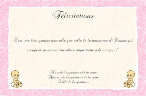 Exemple De Lettre Felicitation Naissance faire part de f 233 licitations de naissance gratuit 224