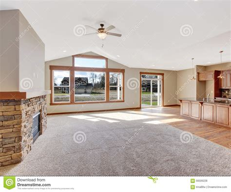 unfurnished living room with carpet stock photo