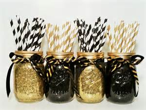 jar centerpieces gold wedding black and gold by