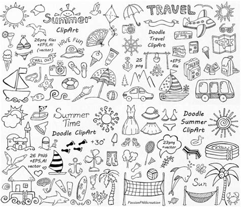 doodle summer big set of doodle summer cliparts by