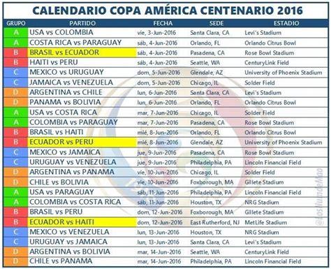 Calendario De Copa Fixture Copa America Centenario 2016 Futbol Boliviano