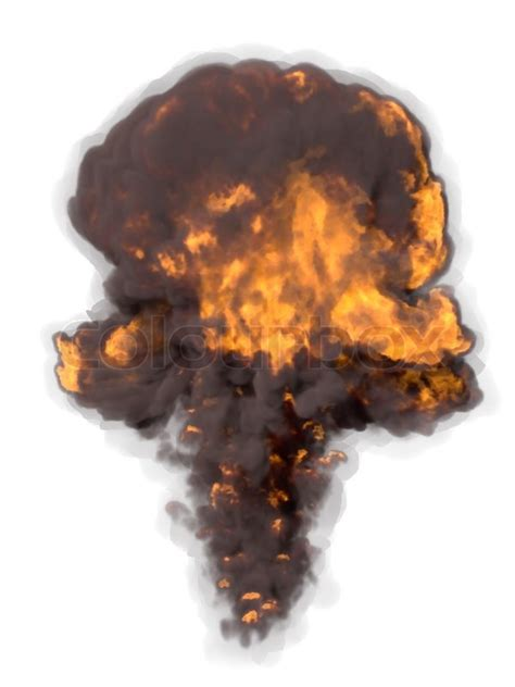 Powerful fiery explosion on a white background | Stock ... Explosion White Background