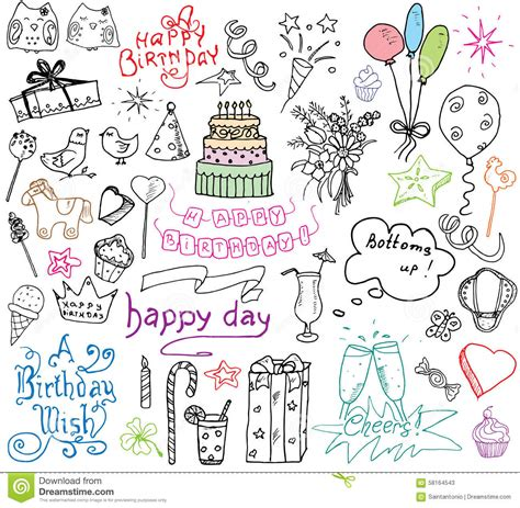 how to make a doodle sign up birthday elements set with birthday cake
