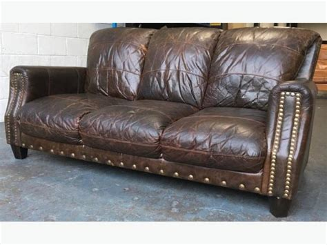 wide seat leather sofa aniline distressed brown leather 3 seat sofa we