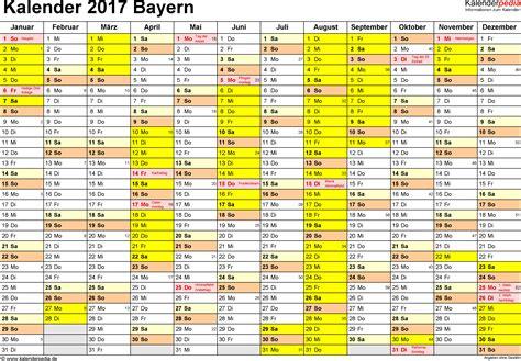 Kalender 2017 Bayern Ferien Feiertage Excel Vorlagen