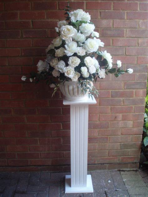 Flower Pedestal wooden pedestal with silk flower arrangement rainbow