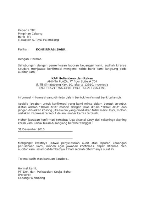 surat konfirmasi bank