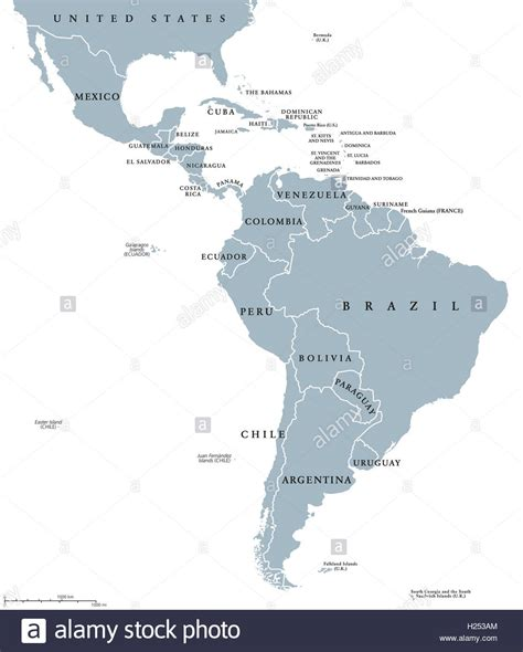 south america map borders america countries political map with national
