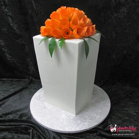 Modern Wedding Cakes by Modern Wedding Cake With Orange Tulips Yeners Way