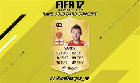 Ultimate Team Card Template by Vardy In Arsenal Shirt For Fifa 17 Ultimate Team Card