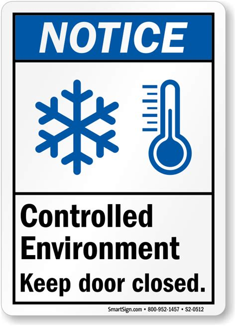 Keep Door Closed Sign by Controlled Environment Keep Door Closed Ansi Notice Sign