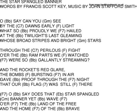 printable version of star spangled banner old time song lyrics with guitar chords for the star