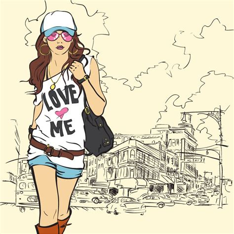 vector illustration of a stylish fashion girl vector illustration free vector graphics