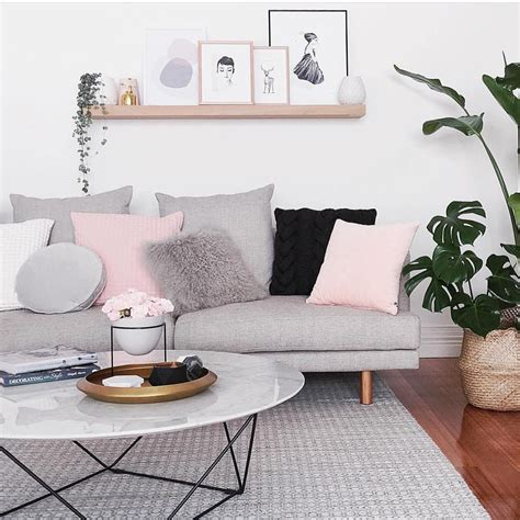 grey and pink is a combo for living room design