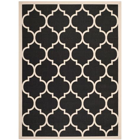 8 ft outdoor rug safavieh courtyard black beige 8 ft x 11 ft indoor outdoor area rug cy6914 266 8 the home depot