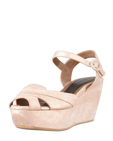 pale pink wedge sandals marni metallic leather platform wedge sandal light pink in