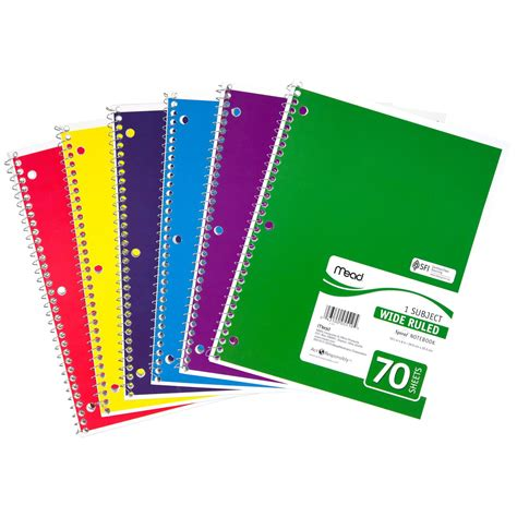 Mood Color Spiral Ruled Notepad 12 pack mead spiral notebook 1 subject 70 count wide