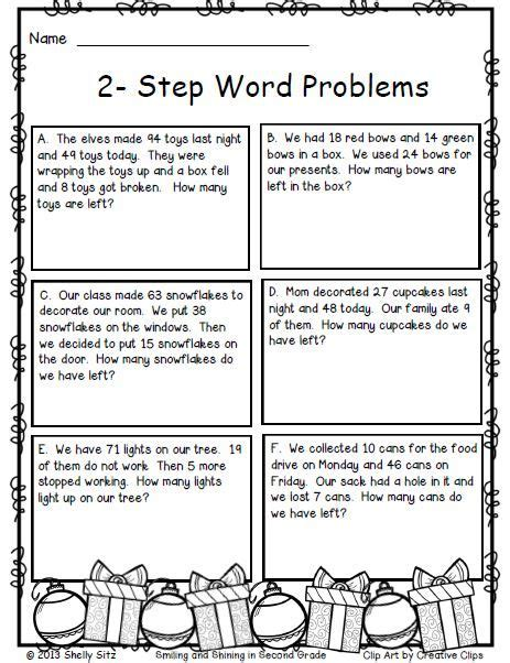 2 step word problems free christmas math for 2nd grade