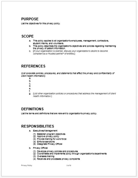 sle privacy policy microsoft word templates